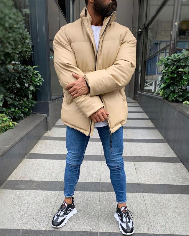 Кожаная мужская зимняя куртка пуховик бежевого цвета - Фото 3