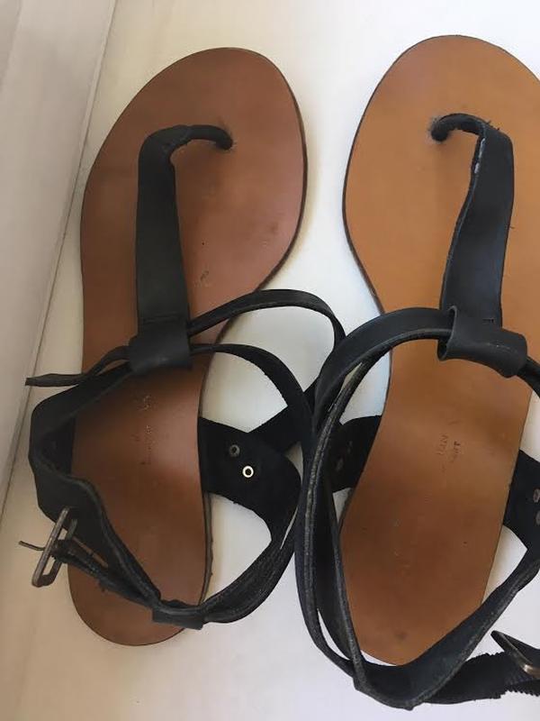 Кожаные черные босоножки сандалии next - Фото 2