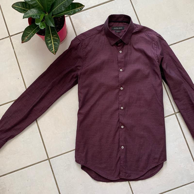 Классическая приталенная мужская рубашка zara slim fit