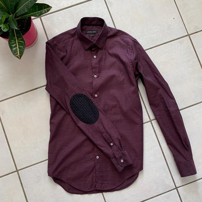Классическая приталенная мужская рубашка zara slim fit - Фото 2