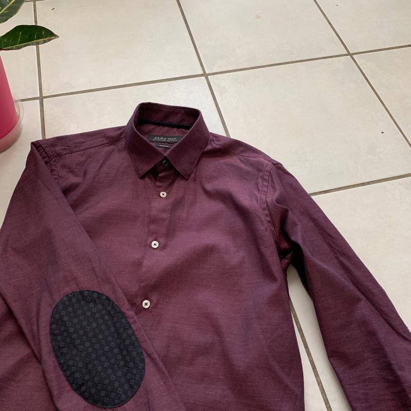 Классическая приталенная мужская рубашка zara slim fit - Фото 3