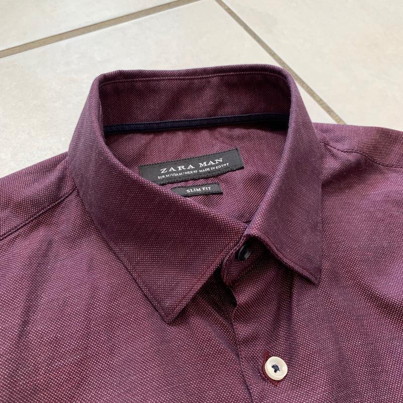 Классическая приталенная мужская рубашка zara slim fit - Фото 4
