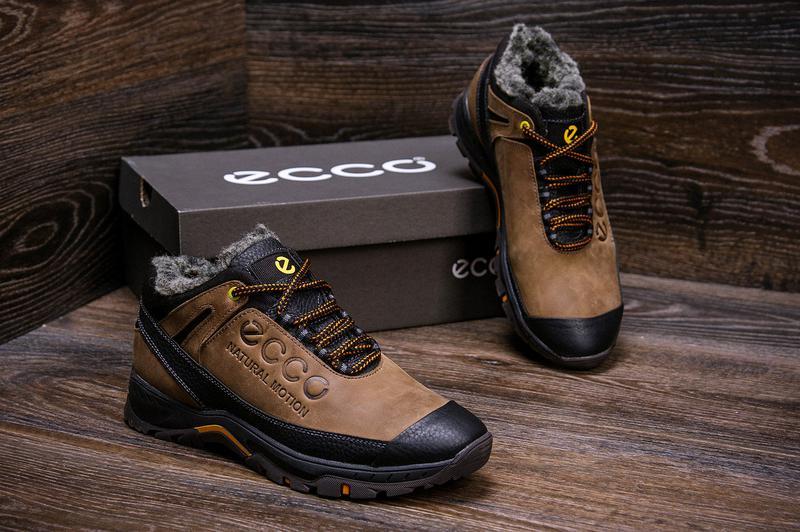 Мужские зимние кожаные ботинки на натуральном меху ecco - Фото 2