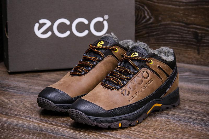 Мужские зимние кожаные ботинки на натуральном меху ecco