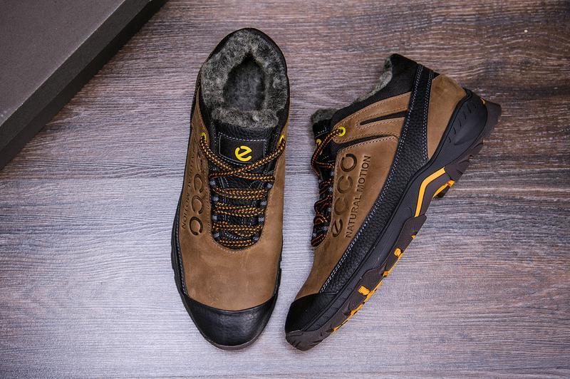 Мужские зимние кожаные ботинки на натуральном меху ecco - Фото 3