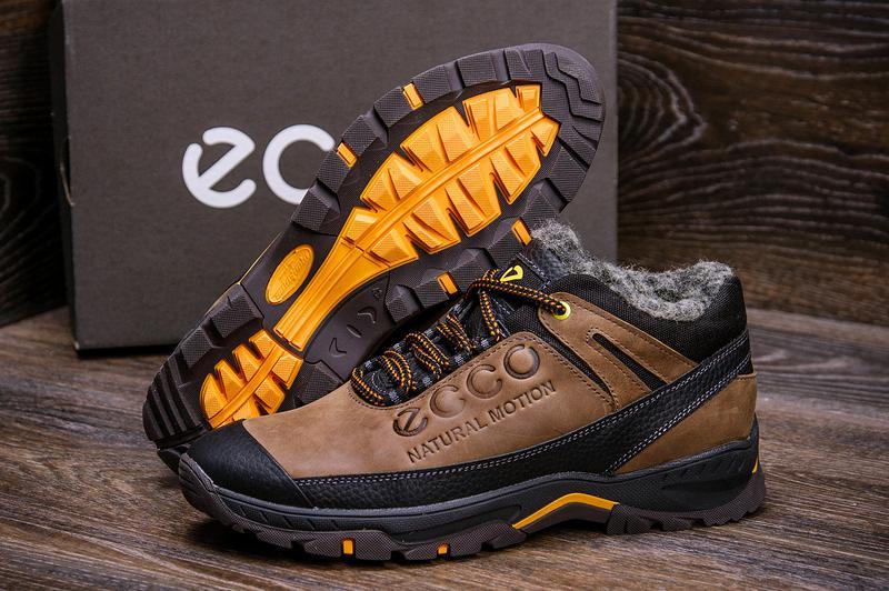 Мужские зимние кожаные ботинки на натуральном меху ecco - Фото 4