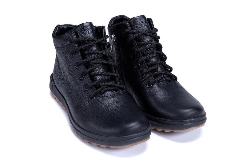 Мужские зимние кожаные ботинки на натуральном меху ecco - Фото 7