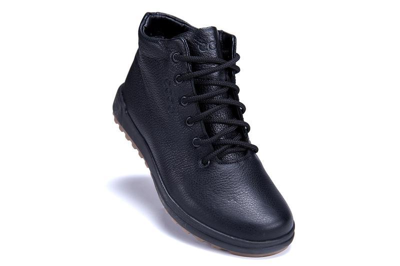 Мужские зимние кожаные ботинки на натуральном меху ecco - Фото 5