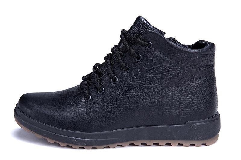 Мужские зимние кожаные ботинки на натуральном меху ecco - Фото 8