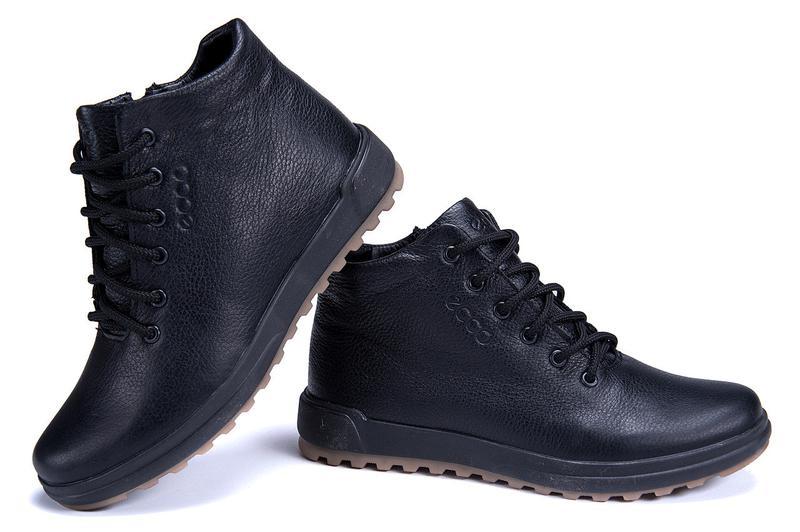 Мужские зимние кожаные ботинки на натуральном меху ecco - Фото 6