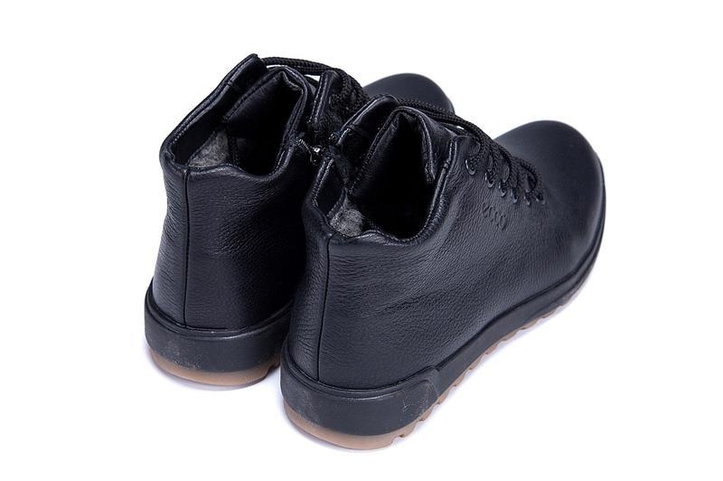 Мужские зимние кожаные ботинки на натуральном меху ecco - Фото 9