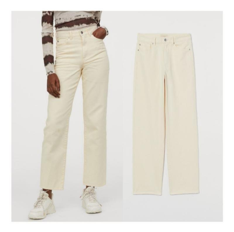 Джинсы straight high waist,прямые бежевые джинсы