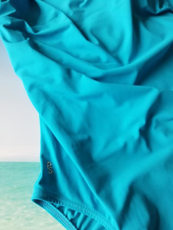 Голубой сдельный купальник 85ф - Фото 2