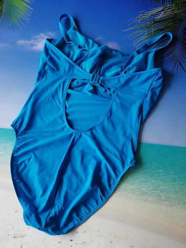 Голубой сдельный купальник 85ф - Фото 4