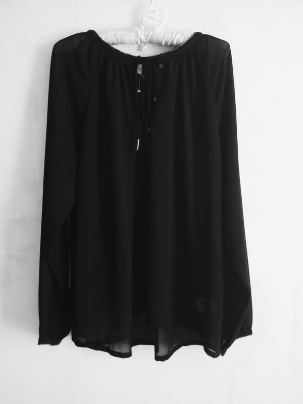 Черная шифоновая легкая блуза