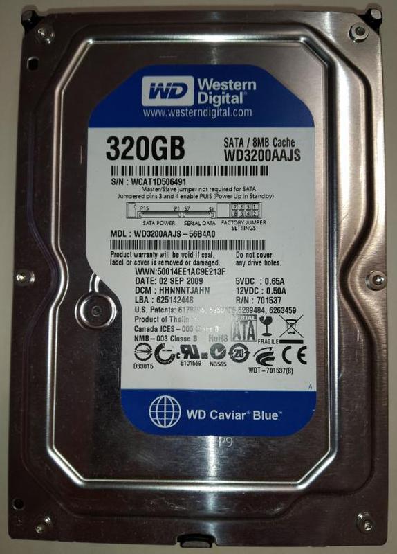 Жесткий диск HDD SATA 3.5 WD 320GB нерабочий (WCAT1D506491)