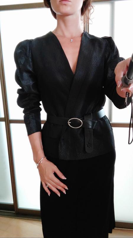 Шикарный пиджак жакет кардиган с объемными плечами тренд блуза - Фото 2