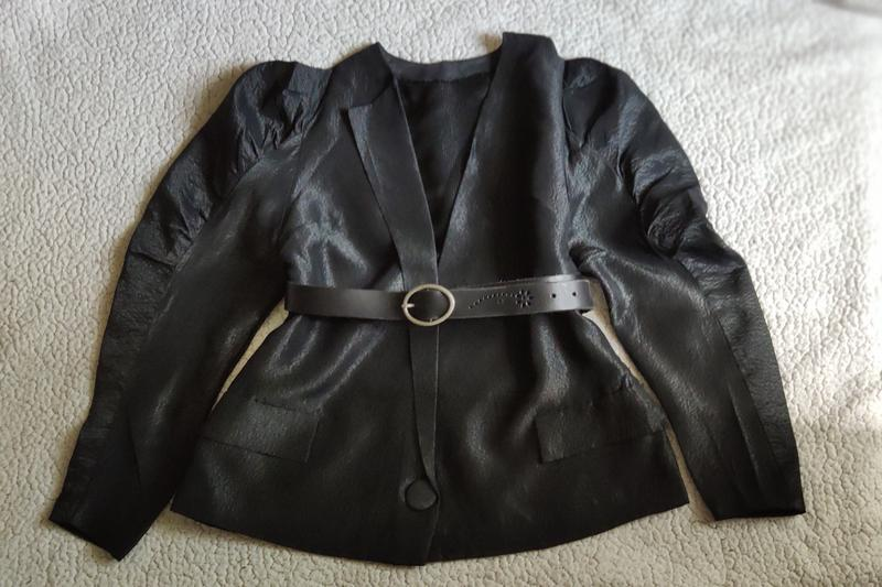 Шикарный пиджак жакет кардиган с объемными плечами тренд блуза - Фото 3