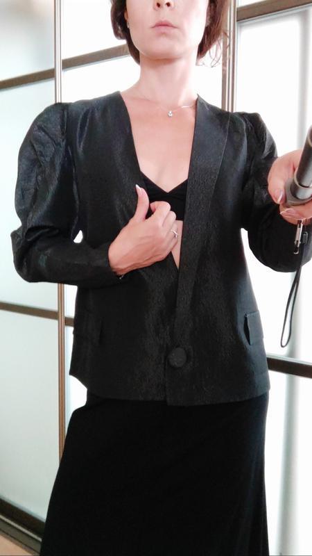 Шикарный пиджак жакет кардиган с объемными плечами тренд блуза - Фото 8