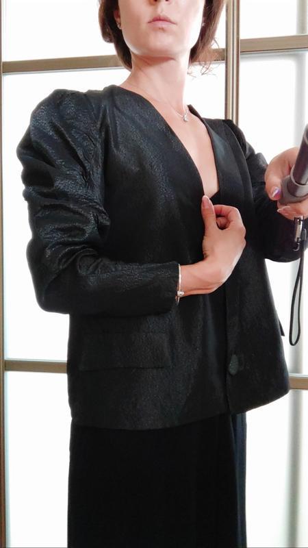 Шикарный пиджак жакет кардиган с объемными плечами тренд блуза - Фото 9