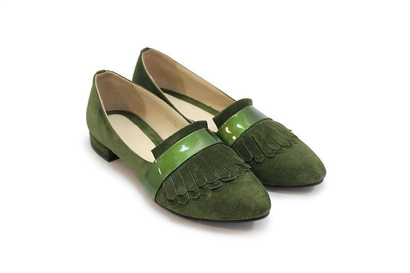 Туфли, низкий ход, балетки, зеленый, натуральная замша