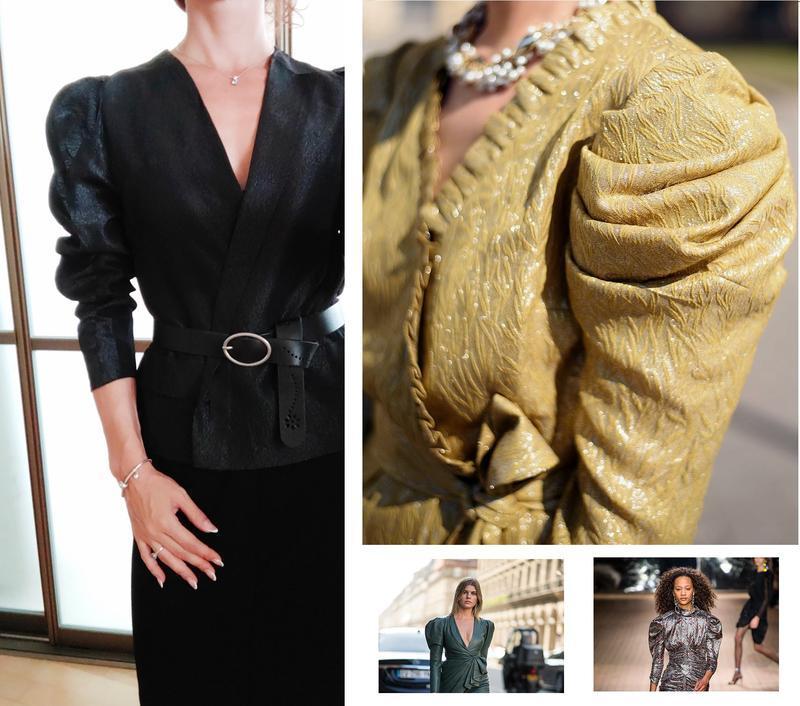 Шикарный пиджак жакет кардиган с объемными плечами тренд блуза - Фото 4