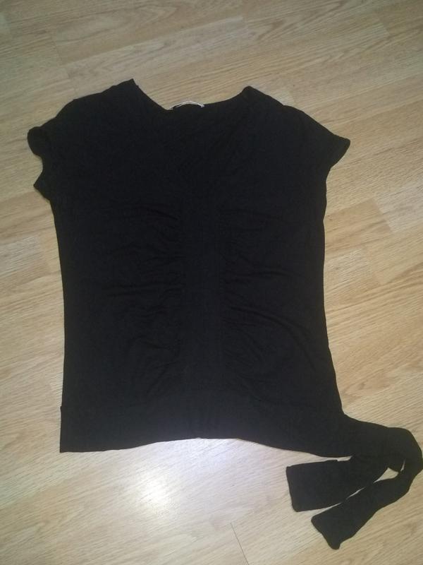 Черная футболка блуза v образный вырез - Фото 9