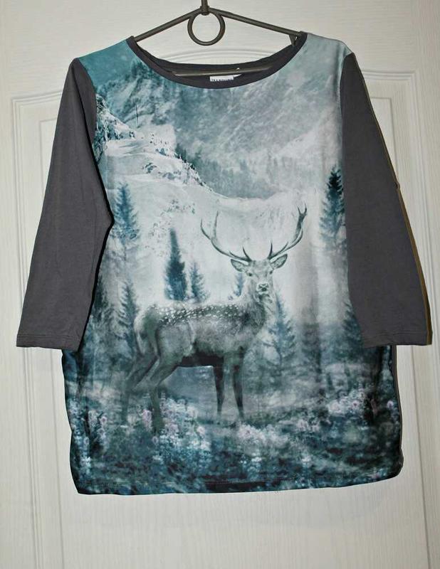 Реглан,блуза с фото принтом на шелковистой ткани. - Фото 3