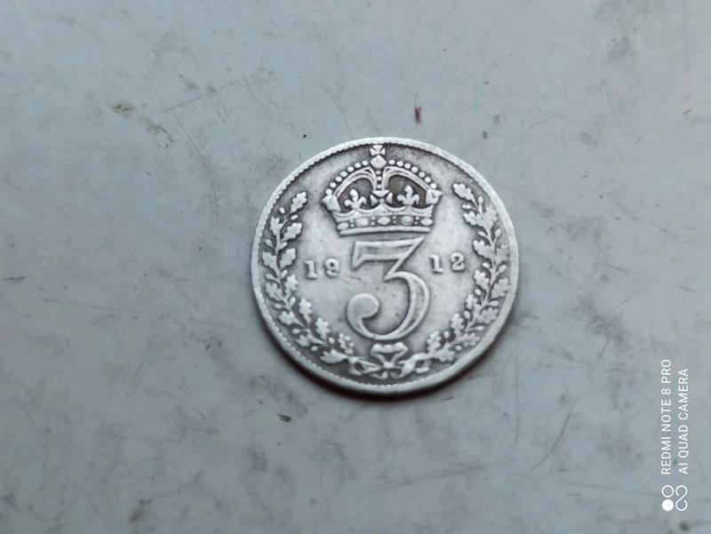 Великобритания 3 пенса 1912г. Георг V. Нечастая.