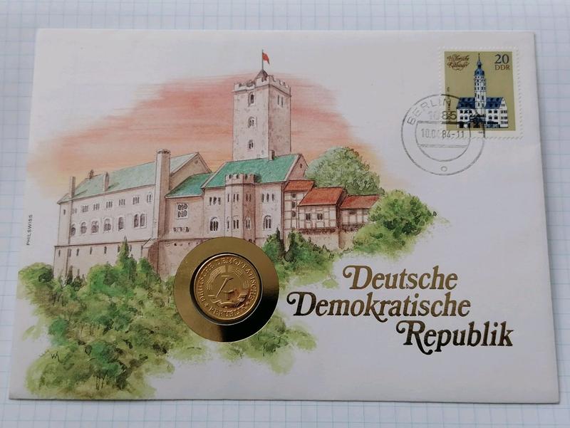 Колекционный набор Германия ГДР Монета конверт марка 1984