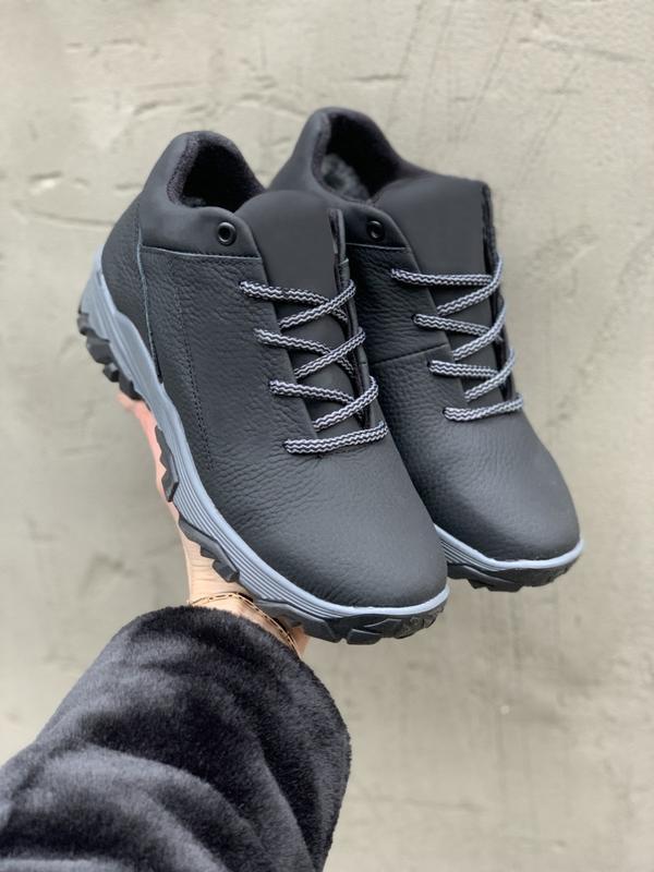 Подростковые кроссовки кожаные зимние черные