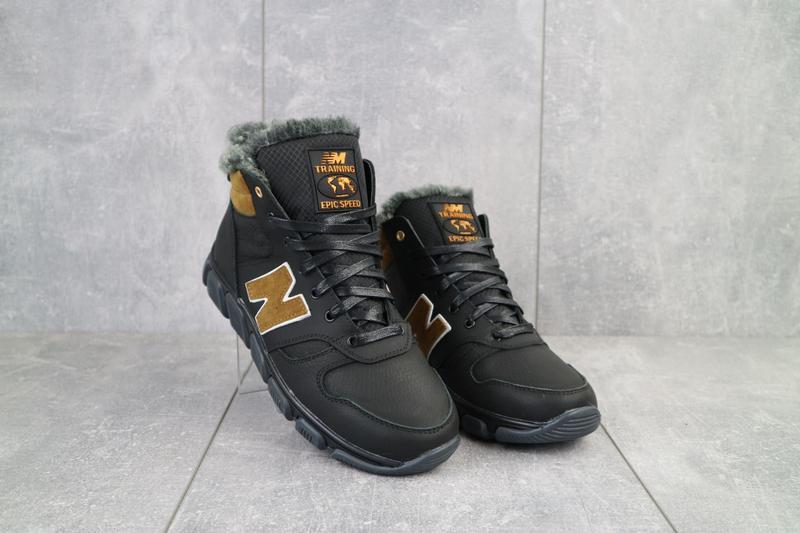 Подростковые кроссовки кожаные зимние черные-рыжие
