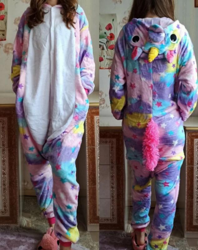 Женская / детская теплая пижама кигуруми единорог