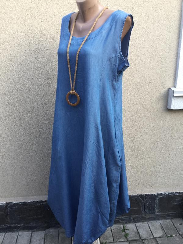Джинсовое платье,сарафан ассиметричный,-балон,заужено к низу,,...
