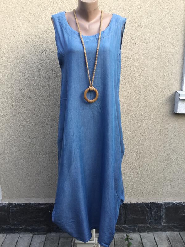Джинсовое платье,сарафан ассиметричный,-балон,заужено к низу,,... - Фото 3