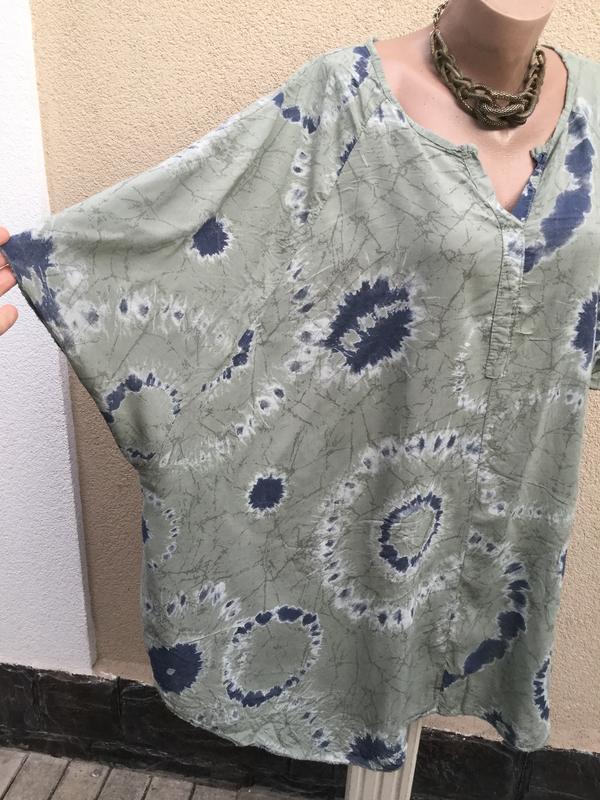 Штапель блуза-реглан,рубаха-пончо свободного кроя,вискоза,боль... - Фото 2
