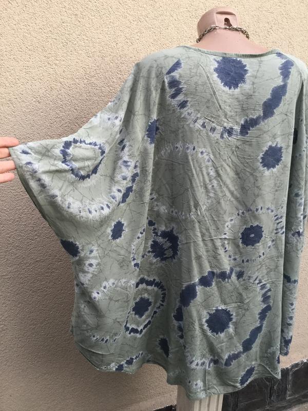 Штапель блуза-реглан,рубаха-пончо свободного кроя,вискоза,боль... - Фото 6