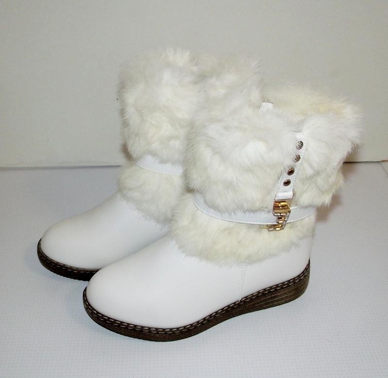 Сапоги зимние девочкам белые klf 34-35