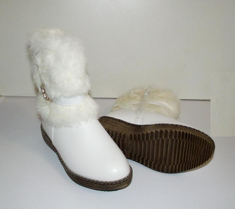 Сапоги зимние девочкам белые klf 34-35 - Фото 4