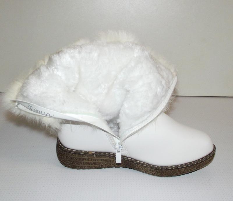 Сапоги зимние девочкам белые klf 34-35 - Фото 5