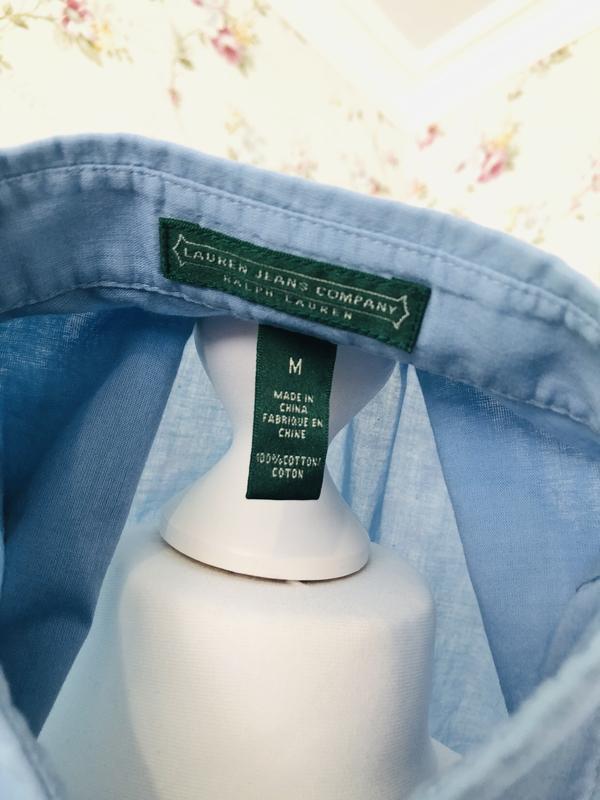 Ralph lauren хлопковая рубашка с воланами - Фото 5