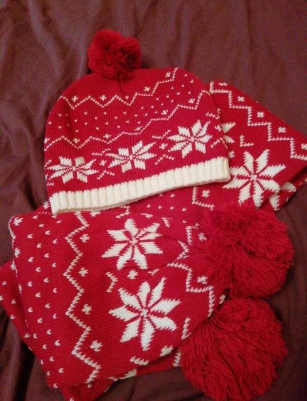 Зимовий зимний набір набор комплект шапка шарф варежки
