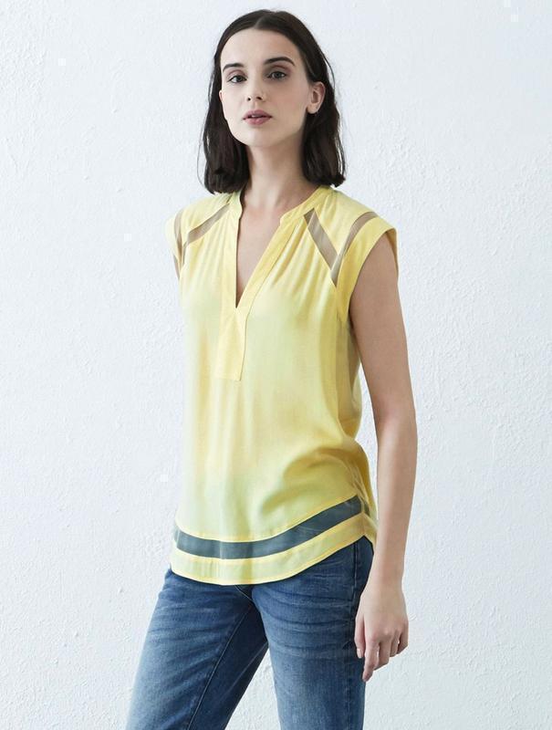 Warehouse блуза с прозрачными деталями