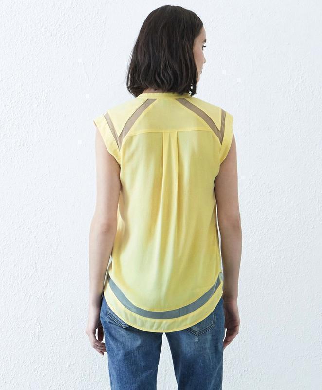 Warehouse блуза с прозрачными деталями - Фото 2