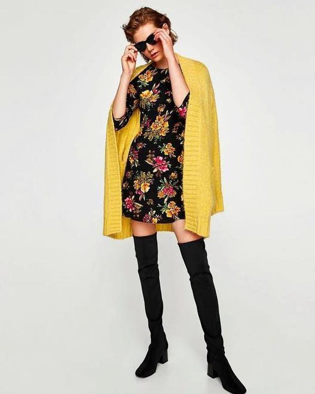 Zara платье в цветочный принт - Фото 2