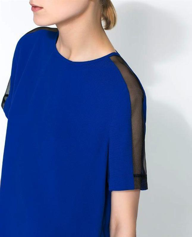 Zara блуза с прозрачными деталями на рукавах