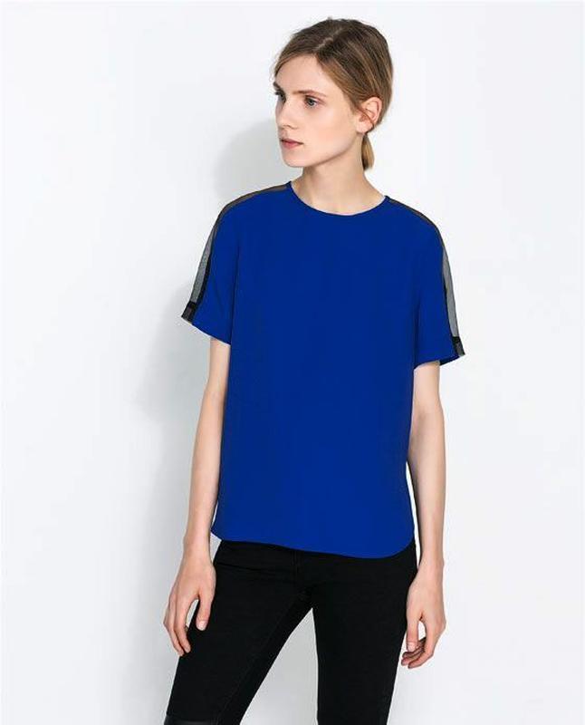 Zara блуза с прозрачными деталями на рукавах - Фото 2