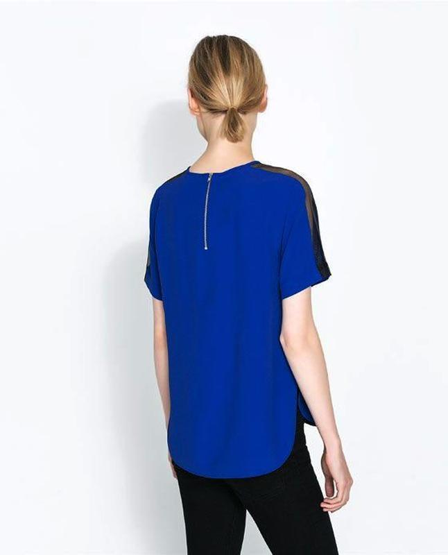 Zara блуза с прозрачными деталями на рукавах - Фото 3