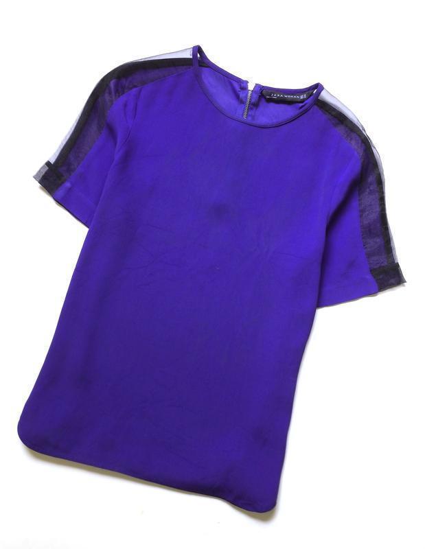 Zara блуза с прозрачными деталями на рукавах - Фото 4