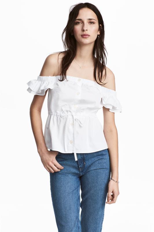 H&m блуза на пуговицах с открытыми плечами